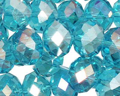 Aquamarine AB Crystal Faceted Rondelle 14mm