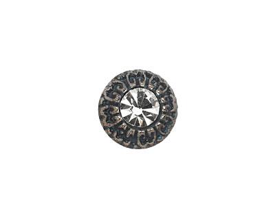 Czech Glass Bronzed Jet & Crystal Button 14mm