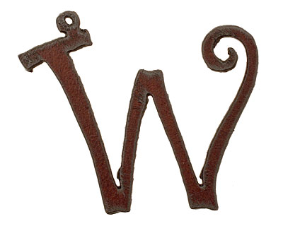 The Lipstick Ranch Rusted Iron Letter W Pendant 59x50mm