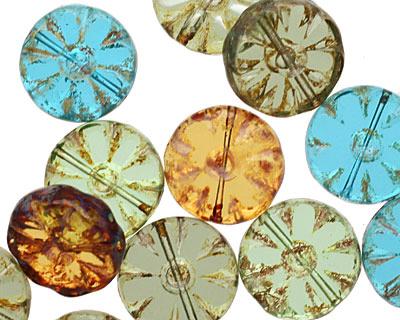Czech Glass Transparent Elements Flower Window Coin 12mm