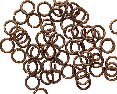 Vintage Bronze Enameled Copper Round Jump Ring 6.5mm, 18 gauge