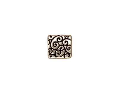 TierraCast Antique Silver (plated) Square Scroll Bead 9mm