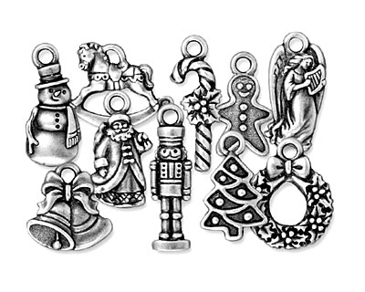 TierraCast Antique Silver (plated) Christmas Charm Set