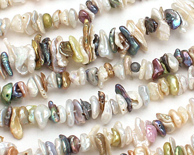 Multi Side-Drilled Keishi (Pearly White, Peacock, Pistachio, Pink) 6-8mm