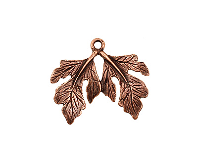 Ezel Findings Antique Copper Twin Fig Leaves Pendant 23x19mm