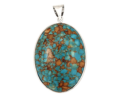 Turquoise Mosaic Magnesite 2-Sided w/ Bail Oval Pendant 30-31x53-54mm