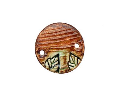 Earthenwood Studio Ceramic Lumber Round Pendant Link 27mm