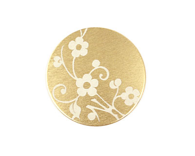 Lillypilly Gold Floral Vine Anodized Aluminum Disc 25mm, 22 gauge