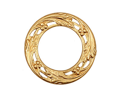 Brass Small Berry & Leaf Ring 27mm