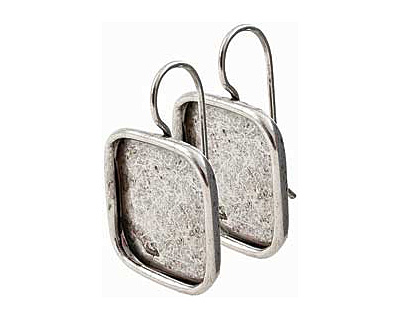 Nunn Design Antique Silver (plated) Large Square Frame Earring 18mm