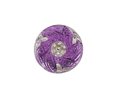 Czech Glass Amethyst w/ Metallic Silver Bay Leaf Wreath Button 18mm
