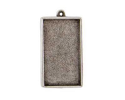 Nunn Design Antique Silver (plated) Grande Rectangle Bezel Pendant 46x25mm