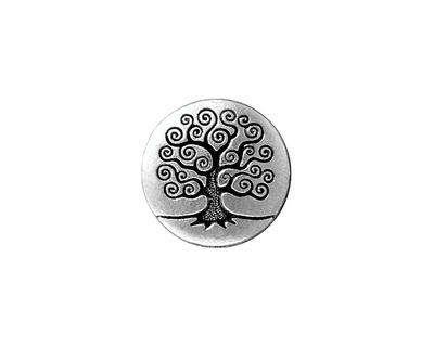 TierraCast Antique Silver (plated) Tree of Life Button 15mm