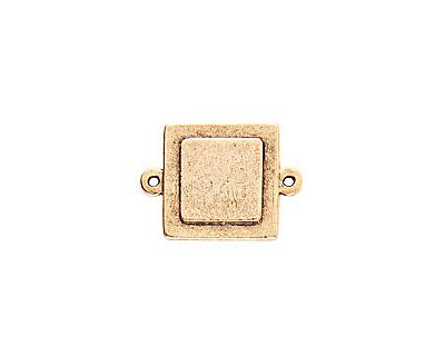 Nunn Design Antique Gold (plated) Raised Tag Mini Square Connector 25x18mm