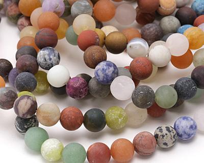 Matte Multi Gemstone (Sodalite, Tiger Eye, Red Jasper, Aventurine) Round 10mm