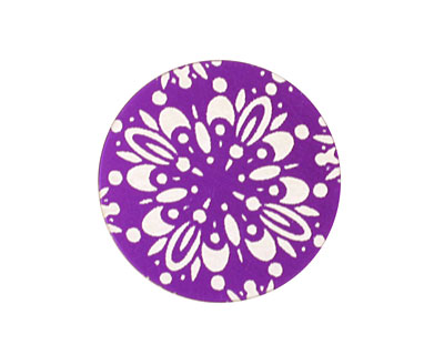 Lillypilly Purple Kaleidoscope Anodized Aluminum Disc 25mm, 24 gauge