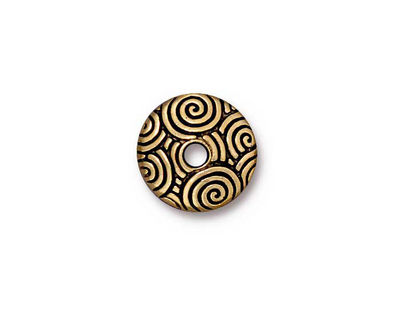 TierraCast Antique Gold (plated) Large Hole Spiral Dance Bead Cap 4x14mm