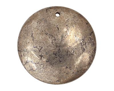 Golden Pyrite (silver tone) Puff Coin Pendant 38mm