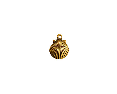 Stampt Antique Gold (plated) Tiny Seashell Charm 7.5x10mm
