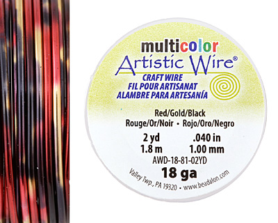 Artistic Wire MultiColor Red/Gold/Black 18 Gauge, 2 Yards