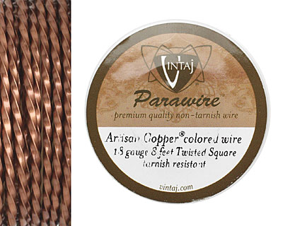 Vintaj Artisan Copper Twisted Square Parawire 18 gauge, 8 feet