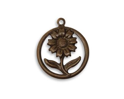 Vintaj Natural Brass Sunflower Motif Charm 19x22mm