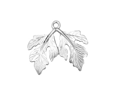 Ezel Findings Rhodium (plated) Twin Fig Leaves Pendant 23x19mm