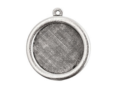 Nunn Design Antique Silver (plated) Framed Small Circle Pendant 29x26mm