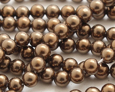 Chocolate Shell Pearl Round 4mm
