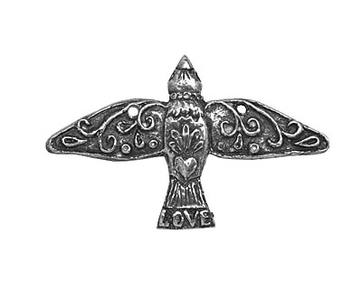 Mamacita Beadworks Pewter Love Bird Pendant 42x26mm