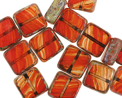 Czech Glass Candied Apple Square 10mm