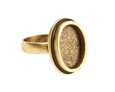 Nunn Design Gold (plated) Traditional Oval Adjustable Bezel Ring 19x24mm