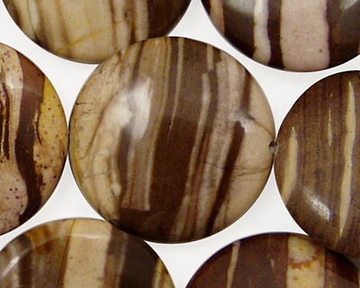 Brown Zebra Jasper Puff Coin 25mm