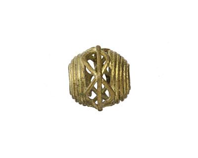 African Brass Corrugated w/ Zig Zag Round (large hole) 11-12x12-13mm