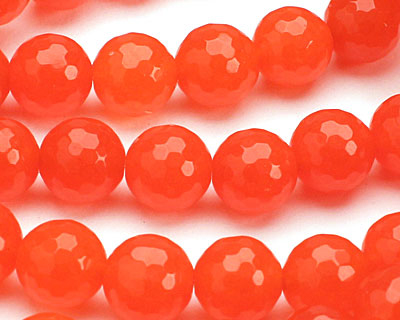 Neon Orange Colorful Jade Faceted Round 10mm