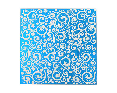 Lillypilly Turquoise Scrolling Vine Anodized Aluminum Sheet 3
