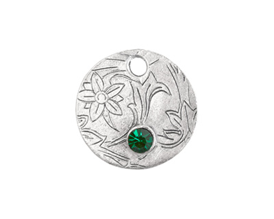 Nunn Design Antique Silver (plated) Decorative Small Circle Tag w/ Emerald Crystal 20mm