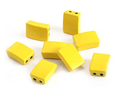 Yellow Enamel 2-Hole Tile Rectangle Bead 12x8mm