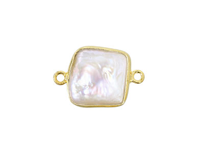 Freshwater Pearl Square Link in Gold Vermeil 19-20x11-12mm