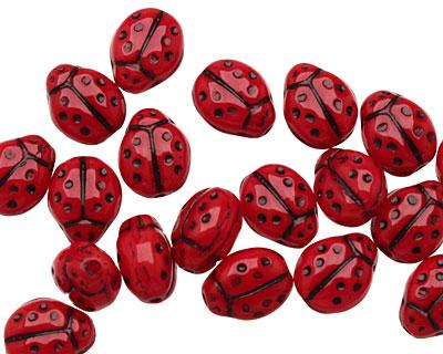 Czech Glass Ladybug 9x7mm