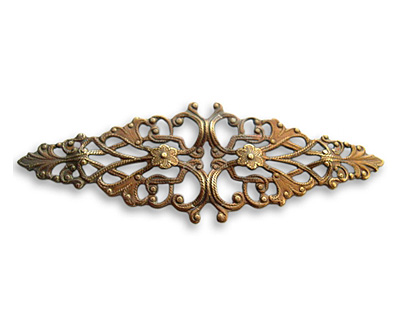 Vintaj Natural Brass Diamond Trellis Filigree 64x21mm