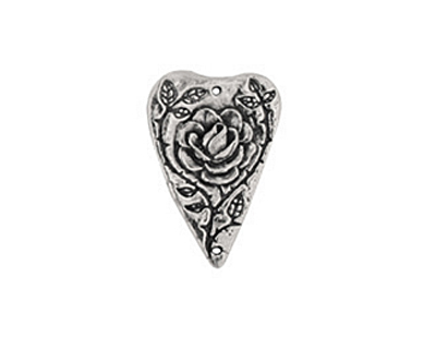 Green Girl Pewter Heart Rose Pendant 28x19mm