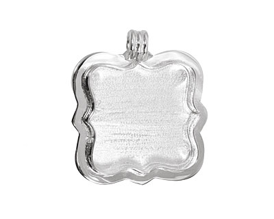 Silver (plated) Antique Square Bezel 37mm