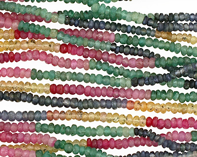 Multi Stone (Citrine, Emerald, Iolite & Ruby) Faceted Rondelle Graduated 2-3mm