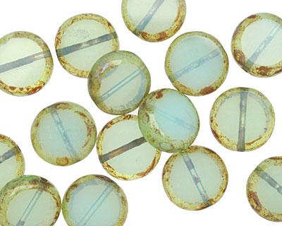 Czech Glass Caribbean Blue Coin 10mm