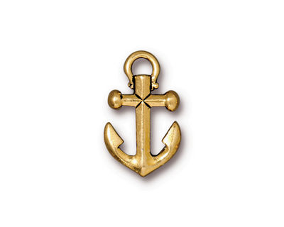 TierraCast Antique Gold (plated) Anchor Pendant 18x28mm