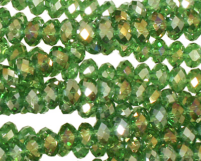 Kelly Green AB Crystal Faceted Rondelle 6mm