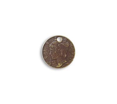 Vintaj Natural Brass Mercury Head Coin 13mm