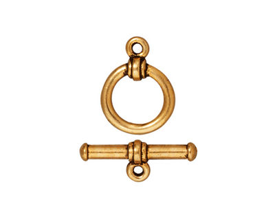 TierraCast Antique Gold (plated) Bar & Ring Toggle Clasp 16x12mm, 19mm Bar
