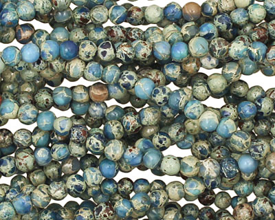 Denim Blue Impression Jasper Round 3.5-4mm